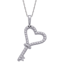 14k White Gold Diamond Heart Key Pendant