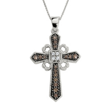 Elegant Cognac Brown Diamond Cross Pendant