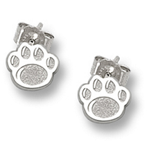 Lovely Penn State Paw Earrings in Sterling Silver