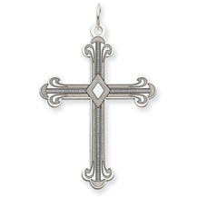 Beautiful Laser Designed Cross Pendant 14k White Gold