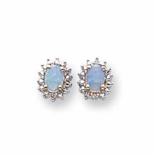14k White Gold Diamond and Opal Earrings