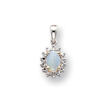 14k White Gold Diamond and Opal Birthstone Pendant