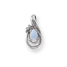 Diamond and Opal Birthstone Pendant in 14k White Gold