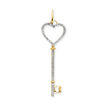Dazzling 1/3Ct. Diamond Key Pendant 14k Yellow Gold