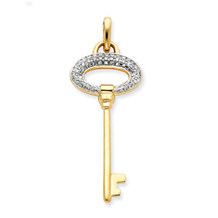 Elegant Diamond Key Pendant 14k Yellow Gold