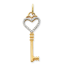 Lovely Heart Key Diamond Pendant 14k Yellow Gold