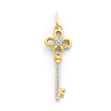 Handsome 14k Yellow Gold Diamond Key Pendant