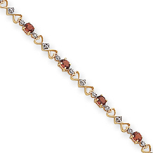 14k Fancy Heart Diamond and Garnet Bracelet