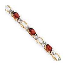 Exquisite Garnet and Diamond Bracelet 14k Yellow Gold