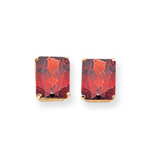 Large Emerald Cut Garnet Earrings