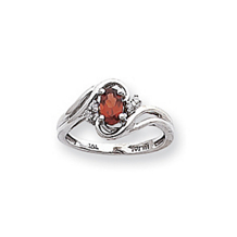 Beautiful Diamond and Garnet Birthstone Ring