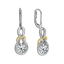 Beautiful Two-tone Everlon Diamond Knot Earrings