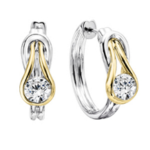 Dazzling Two-tone Everlon Diamond Knot Earrings