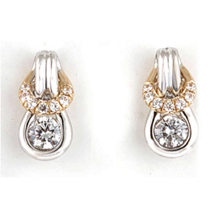 Gorgeous Two-tone Everlon Diamond Knot Earrings