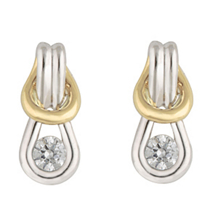 Alluring Two-tone Everlon Diamond Knot Earrings