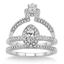 Stunning 5/8 Carat Marquise Diamond Bridal Set