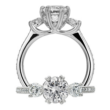 Three Stone Ritani Setting Engagement Ring