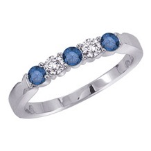 Stunning White and Blue Diamond Band