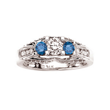 Fashionable Blue and White Diamond Ring