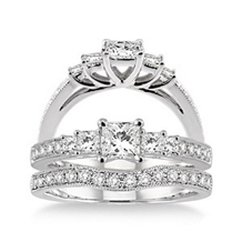 1 Carat Diamond Wedding Set With Princess Cut Center