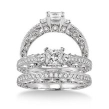 3/4 Carat Complete Diamond Wedding Set 14k White Gold