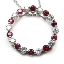 Ruby And Diamond Circle Pendant