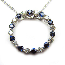 Sapphire And Diamond Circle Pendant