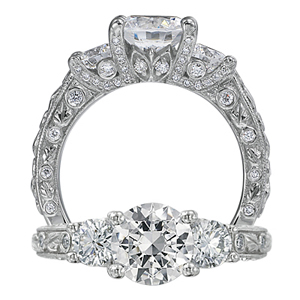 Ritani Romantique Three Stone Diamond Engagement Ring