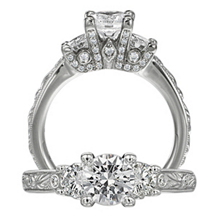 Alluring Three Stone Ritani Romantique Engagement Ring