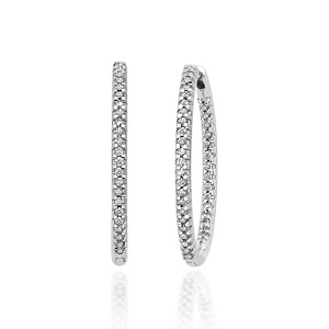 34mm Diamond Hoop Earrings 14k White Gold