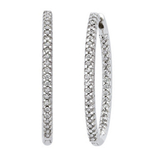 Diamond Hoop Earrings 34mm in 14k White Gold