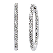 2 Carat 47mm Diamond Hoop Earrings 14k White Gold