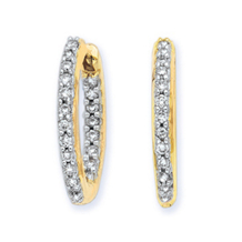 19mm 1/2 Carat Diamond Hoop Earrings 14k YG
