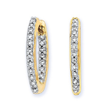 Elegant 19mm 1/2 Ct. Diamond Hoop Earrings 14k YG