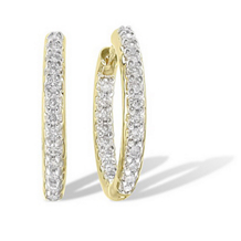19mm 1/2 Ct. Diamond Hoop Earrings 10k YG