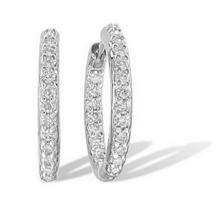19mm 1/2 Ct Diamond Hoop Earrings 10k WG