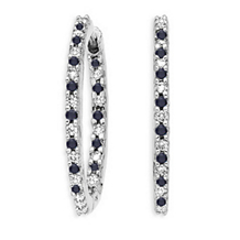 41mm Black and White 1.5 Ct Diamond Hoop Earrings