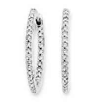 24mm 3/4 Ct Diamond Hoop Earrings in 14k White Gold