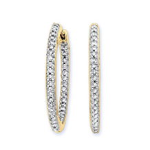 29mm 1 Carat Diamond Hoop Earrings Yellow Gold