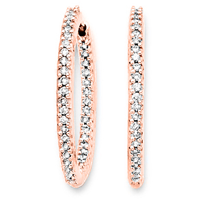 29mm 1 Carat Diamond Hoop Earrings in 14k Rose Gold