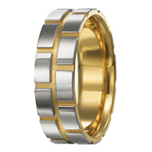 Two Tone Modern Mens Wedding Band 7mm
