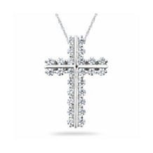 Elegant Diamond Cross Pendant in White Gold