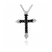 Black and White Diamond Cross Pendant