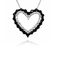 Two Heart Black and White Diamond Pendant