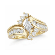 Marquise Cut Diamond Engagement Ring 14k Yellow Gold