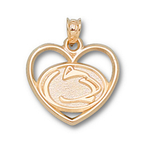 14k Yellow Gold Penn State Lion Head Heart Charm