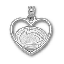 Sterling Silver Penn State Lion Head Heart Charm