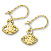 14K Yellow Gold Penn State Football Dangle Earrings