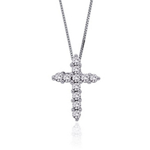 Diamond Cross Pendant 1/4 Carat in 14K White Gold