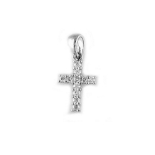 14k White Gold and Diamond Cross